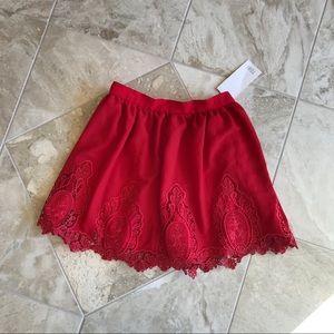 New red Tobi mink lace skirt M